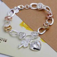 Damen Armband Herz mit Zirkonia Stein 925 Sterling Silber plattiert