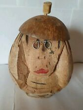 Alte Spardose aus Kokosnuss Handarbeit Deko Affe