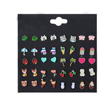 20 Pairs Fashion Girl Cute Animal  Resin Earrings Set Women Ear Stud Jewelry