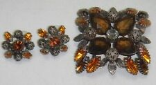 Joan Rivers LARGE Signed Bronze Tone Citrine Amber Pin/Brooch & Pierced Earrings