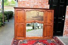 French Antique Carved Walnut Louis XV Trumeau Mirror with Oil Painting On Wood