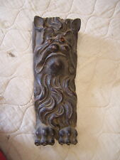 Antique Carved Wood  gargoyle lion head bracket carving 15 in by 5 in 3 aval