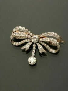 VICTORIAN 3.33CARAT ROUND AND CUT DIAMOND BOW BROOCH PIN 14K YELLOW GOLD OVER