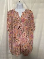 Croft & Barrow Women's Knit Top Size 2XL/3XL Short Sleeve Floral Salmon Pink