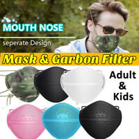 Washable Separate Mouth Nose Face Shield Cover With 5/10x Filter Pads Adult Kids