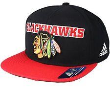 8c5548bc6ff53 adidas NHL Chicago Blackhawks Flat Brim Snapback Hat One Size Black