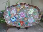 Chinese famille rose biscuit oblong tea tray, mille fleur decorated