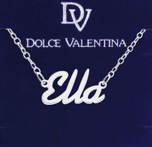 925 Sterling Silver ELLA Name Necklace Womens Girls Pendant Gift Ready Stock