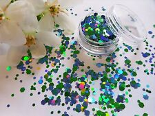 Nail Art Chunky *Sea* Blue Green Hexagon Glitter Spangles Mix Tip Pot Decoration