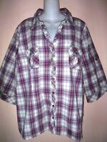Plus SONOMA PLAID SHIRT Top Cotton Spandex Purple White 2 Lapel Pockets 3X