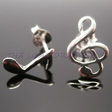 925 Sterling Silver Music Note Crotchet Treble Clef Stud Earrings Gift Bag UK
