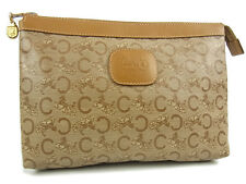 Auth CELINE Logos Carriage Pattern PVC Leather Clutch Bag Pouch Beige F/S 13819e