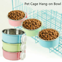 Pet Dog Cat Stainless Steel Hanging Food Water Bowl Puppy Bird Crate Cage Feeder