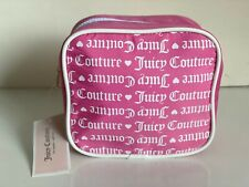 JUICY COUTURE PINK WHITE LOGO SQUARE BEAUTY BAG MAKEUP COSMETIC POUCH CASE $28