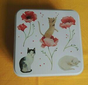 Katzen Klatschmohn Geschenkdosen Kleinigkeiten Dose Metall Katze Blumen