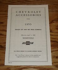 1953 Chevrolet Car & Truck Accessory Price List Brochure 53 Chevy