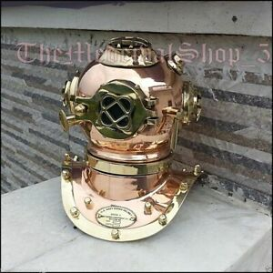 U.S.Navy Mark IV Mini Diving Helmet Deep Sea Divers Helmet Copper & Brass scuba