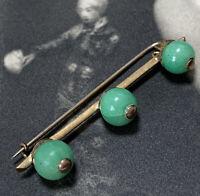 Antique Art Deco 18ct Yellow Gold Jade Ball Brooch 18k Pin