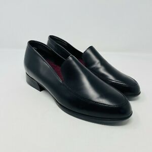Munro Womens Size 7 WW Wide Width Slip On Heeled Loafers Black Leather S4