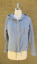 Jack Wills Blue & White Striped Hoodie Long Sleeve Button Down Jacket Sz Sm