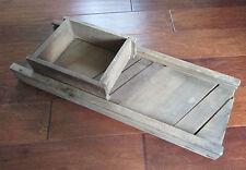 Vtg Primitive Wood 3 Blade Cabbage Sauerkraut Slicer Cutter Board Sliding Box