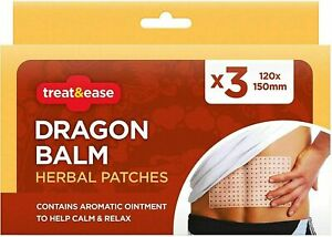 3x Dragon Balm Herbal Patches Pain Relief Muscles Deep Heat Stick 12x15mm Patch