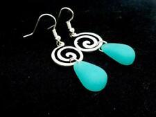 New Beach Sea Glass Earrings Women Silver Plated  New