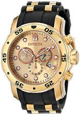 Invicta Hombre Reloj Gold Oro Crystal Rubber Hand Man Watch Bracelet Pulsera Arm