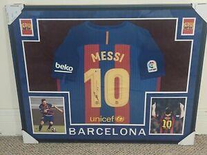 "Lionel ""Leo"" Messi Nike Dri-Fit Framed FC Barcelona Jersey 35 x 43 Beckett COA"