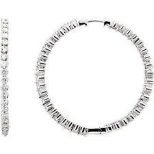 3.00 CTW diamante interno / FUORI Orecchini a cerchio in 14k oro bianco