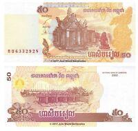 Cambodia 50 Riels 2002 P-52 Banknotes  UNC