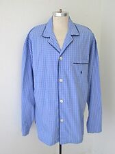 NWT Polo Ralph Lauren Sleepwear Blue Cotton Nightshirt Pajama Top Pony Logo XL