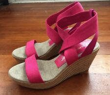 Jean-Michel Cazabat Claudia Elastic Espadrille Wedge Fuchsia Shoes Sz 37