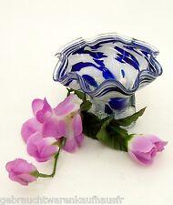 Wunderschön gebogene Design Glasschale Blau weiß Ø ca. 14 cm