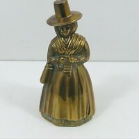 Vintage Brass Tea Table Bell Welsh Lady/ Desk Ornament/ Collectable 10 cm Tall