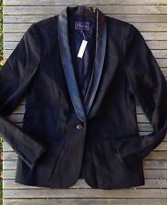 New Madewell Leather Blazer Jacket 6 $198 Coat S Trim Tomboy Fitted Alexa Chung