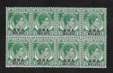 E6477 Malaya STRAITS SETTLEMENTS BMA 1945 Overprints 3c MNH BLOCK OF 8