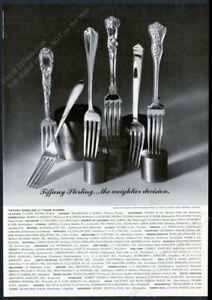 1969 Tiffany's sterling silver Chrysanthemum Olympian etc 6 fork photo print ad