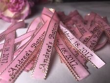 100 Personalized Ribbons Favor Baby Shower Bridal Wedding Baptism Birthday Pink.
