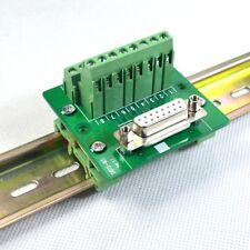 DIN Rail Mount D-SUB DB15 Female Module Breakout Board Terminal Block Connector