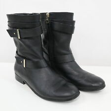 Ann Taylor Boots Womens 9M Brycen Buckle Black Leather Zipper Motorcycle