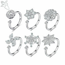 Women Open Adjustable Ring Crystal Spinner Fidget Ring Rotating Ring Ladies Gift