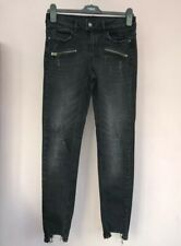 Zara Skinny Jeans Size 8 Distressed Ripped Leg Knee Raw Hem Fade Black Grey Zip