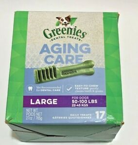 Greenies Aging Care Dental Treats Large Dogs 17 Treats EXP 01/2029 Damaged Box
