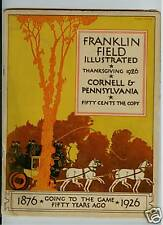 1926 CORNELL & PENN FRANKLIN FIELD ILLUSTRATED MAGAZINE