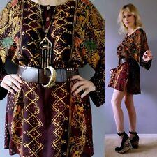 Vtg 80s Kimono TRIBAL Folk Art TAPESTRY Boho Hippie FESTIVAL MINI Dress Tunic