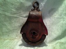 Large Vintage cast iron wooden pulley