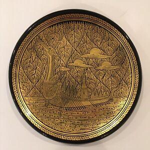 "Beautiful Burmese 9"" plate lacquer ware Black Gold Majestic Big Ship ~ Elegance"
