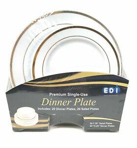 EDI 40 White w/Gold Rim Disposable Plastic Plates (20 Dinner + 20 Salad Plates)