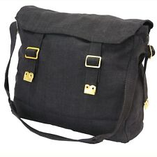 New Heavy Duty Canvas Messenger Black Shoulder Bag Cross Body Carry Travel  Tote d47b7683140a4